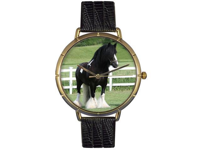 Gypsy Vanner Horse Black Leather And Goldtone Photo Watch #N0110026