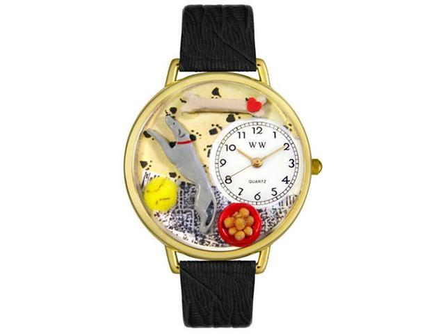 Whimsical Watches G0130046 Greyhound Black Skin Leather And Goldtone Watch