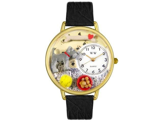 Whimsical Watches G0130066 Schnauzer Black Skin Leather And Goldtone Watch