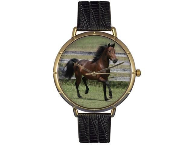 Morgan Horse Black Leather And Goldtone Photo Watch #N0110029
