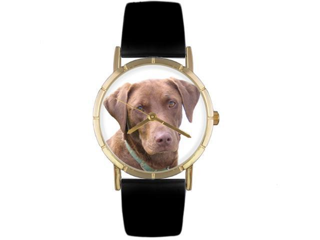 Chocolate Labrador Retriever Black Leather And Goldtone Photo Watch #P0130011