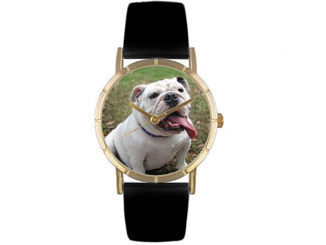 Bulldog Black Leather And Goldtone Photo Watch #P0130018