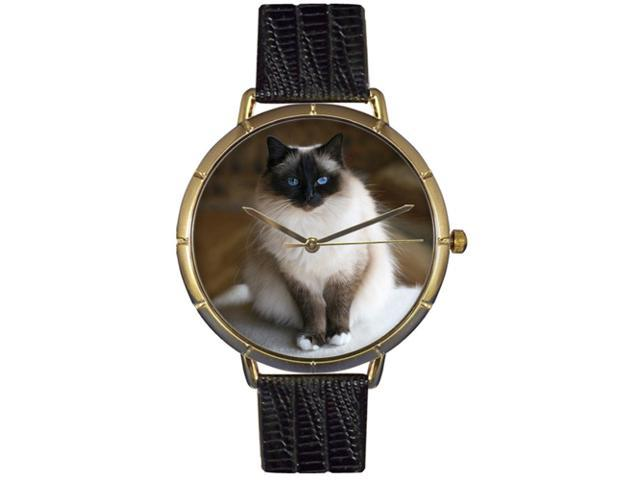 Birman Cat Black Leather And Goldtone Photo Watch #N0120027