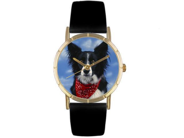 Border Collie Black Leather And Goldtone Photo Watch #P0130028