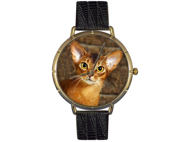Abyssinian Cat Black Leather And Goldtone Photo Watch #N0120033