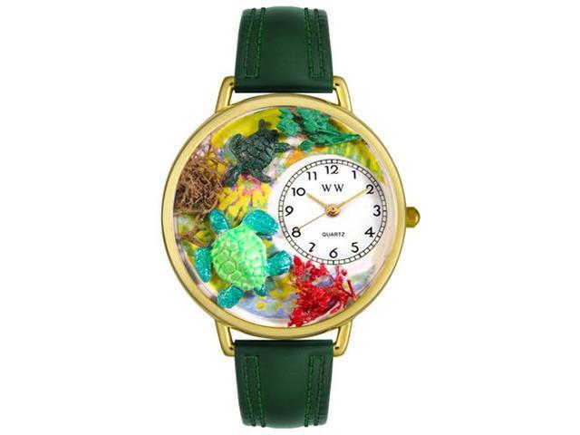 Whimsical Watches G0140003 Turtles Hunter Green Leather And Goldtone Watch