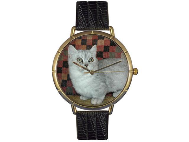 Munchkin Cat Black Leather And Goldtone Photo Watch #N0120047