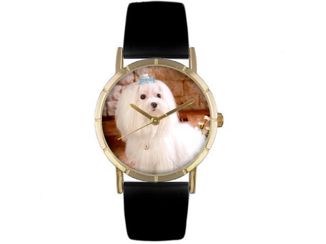 Maltese Black Leather And Goldtone Photo Watch #P0130051