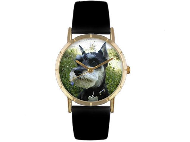 Schnauzer Black Leather And Goldtone Photo Watch #P0130066