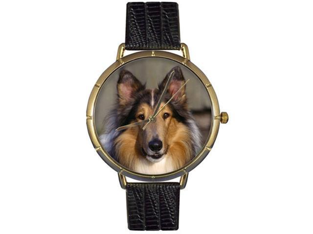 Collie Black Leather And Goldtone Photo Watch #N0130004