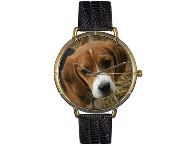 Beagle Black Leather And Goldtone Photo Watch #N0130007