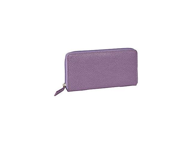 Budd Leather 291333-13 Pebble Grained Leather Large Zip Around Wallet - Purple