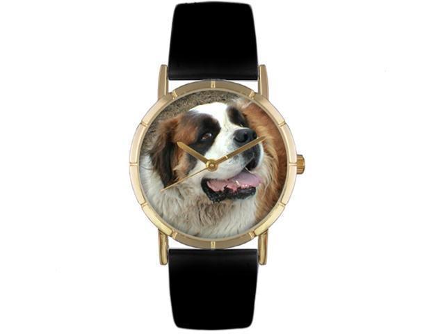 Saint Bernard Black Leather And Goldtone Photo Watch #P0130070