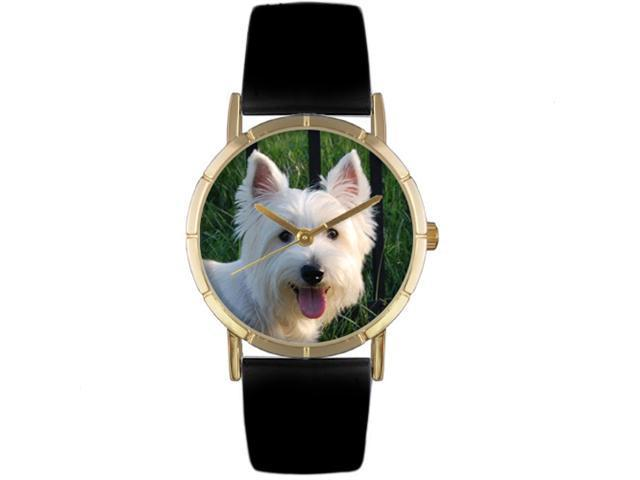 Westie Black Leather And Goldtone Photo Watch #P0130073