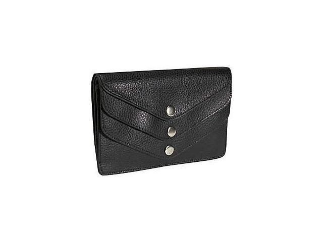Budd Leather 292380-1 Pebble Grained Leather Triple Flap Wallet - Black