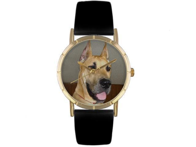 Great Dane Black Leather And Goldtone Photo Watch #P0130080