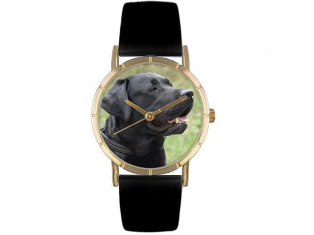 Black Labrador Retriever Black Leather And Goldtone Photo Watch #P0130082