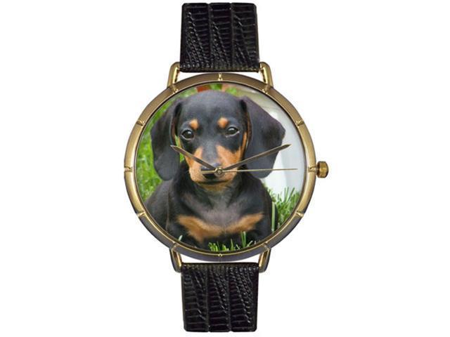 Dachshund Black Leather And Goldtone Photo Watch #N0130034