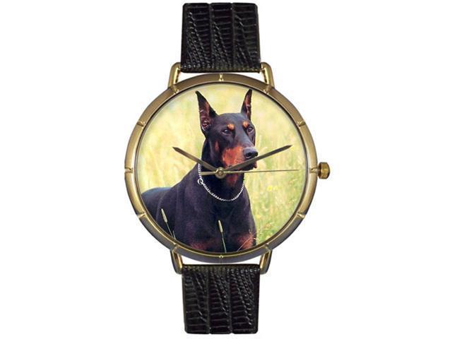 Doberman Black Leather And Goldtone Photo Watch #N0130035