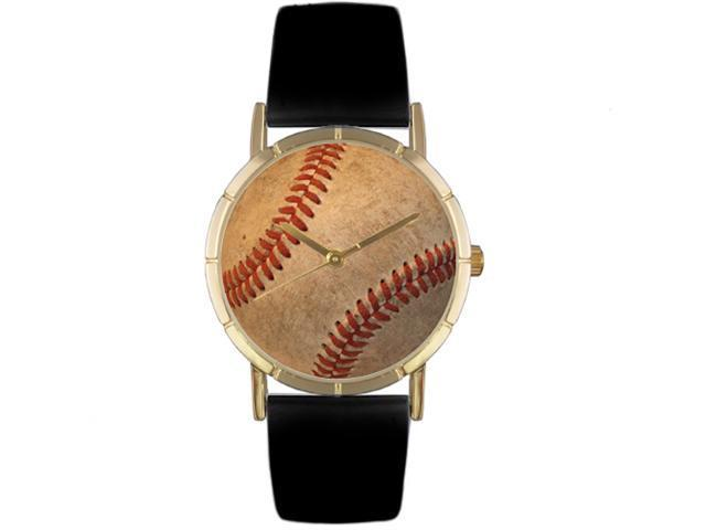 Baseball Lover Black Leather And Goldtone Photo Watch #P0840001