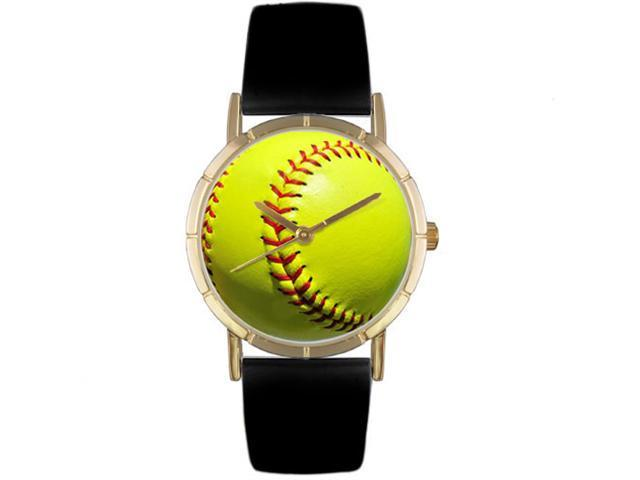 Softball Lover Black Leather And Goldtone Photo Watch #P0840003