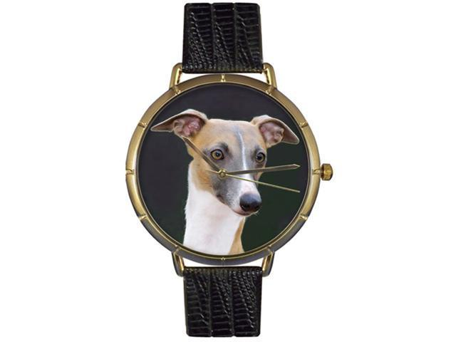Greyhound Black Leather And Goldtone Photo Watch #N0130046