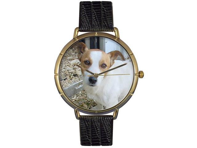 Jack Russel Black Leather And Goldtone Photo Watch #N0130048