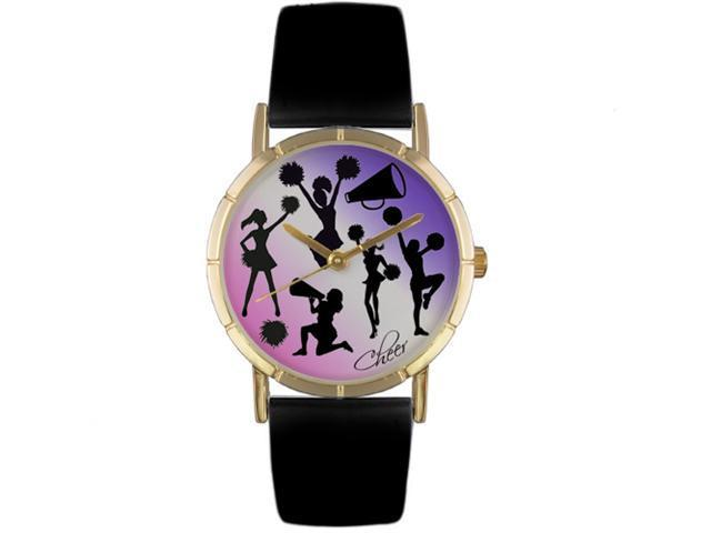 Cheerleading Lover Black Leather And Goldtone Photo Watch #P0840014
