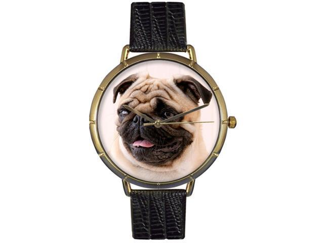 Pug Black Leather And Goldtone Photo Watch #N0130061