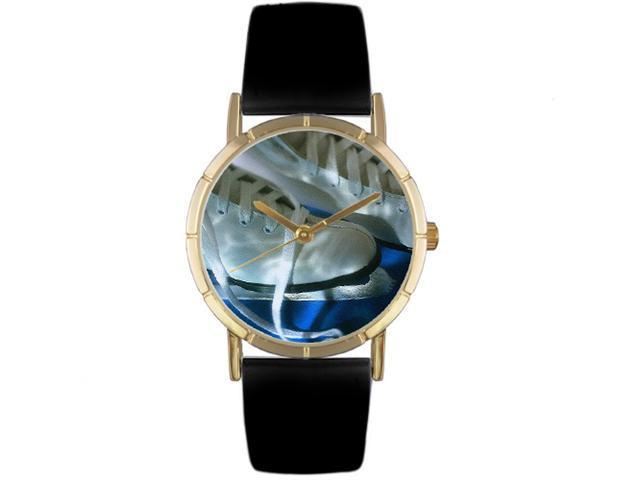 Ice Skating Lover Black Leather And Goldtone Photo Watch #P0840026