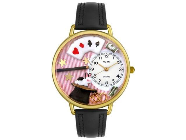 Whimsical Watches G0420006 Magic Black Padded Leather And Goldtone Watch
