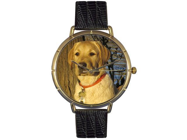 YellowLabrador Retriever Black Leather And Goldtone Photo Watch #N0130081