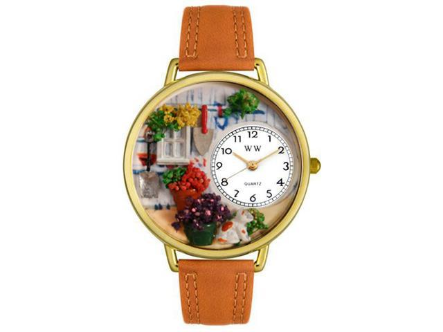 Whimsical Watches G1210008 Gardening Tan Leather And Goldtone Watch