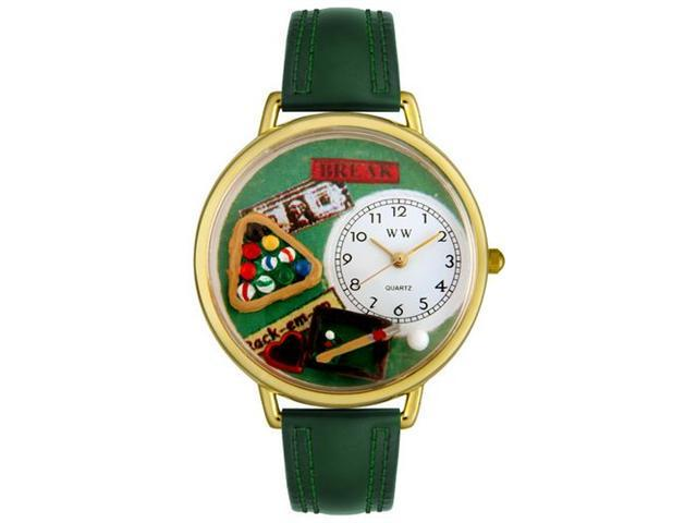 Whimsical Watches G0430006 Billiards Hunter Green Leather And Goldtone Watch
