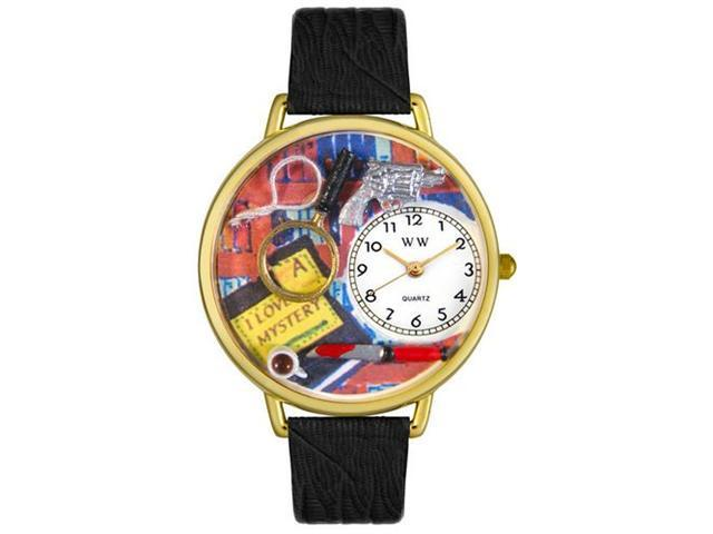 Whimsical Watches G0460002 Mystery Lover Black Skin Leather And Goldtone Watch