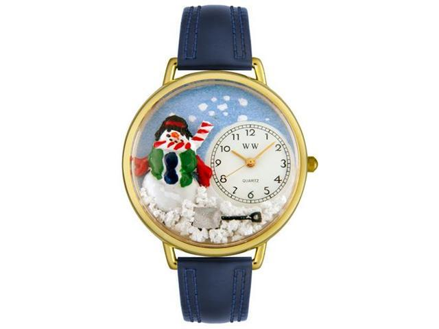 Whimsical Watches G1220008 Christmas Snowman Red Leather And Goldtone Watch