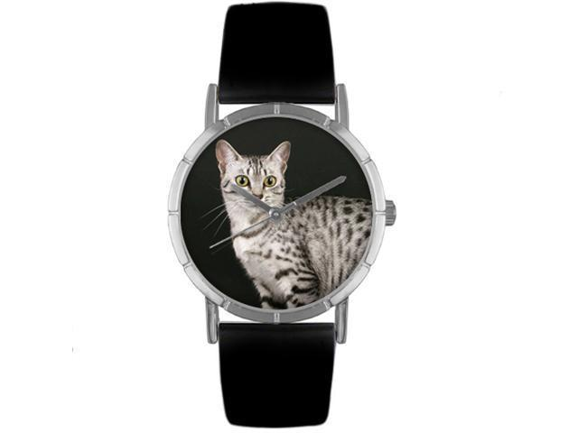 Egyptian Mau Cat Black Leather And Silvertone Photo Watch #R0120041