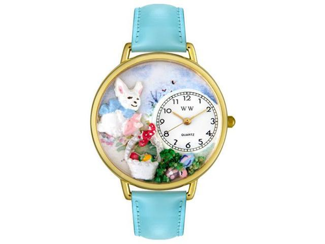 Whimsical Watches G1220016 Easter Eggs Baby Blue Leather And Goldtone Watch