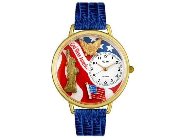 Whimsical Watches G1220022 July 4th Patriotic Royal Blue Leather And Goldtone Watch