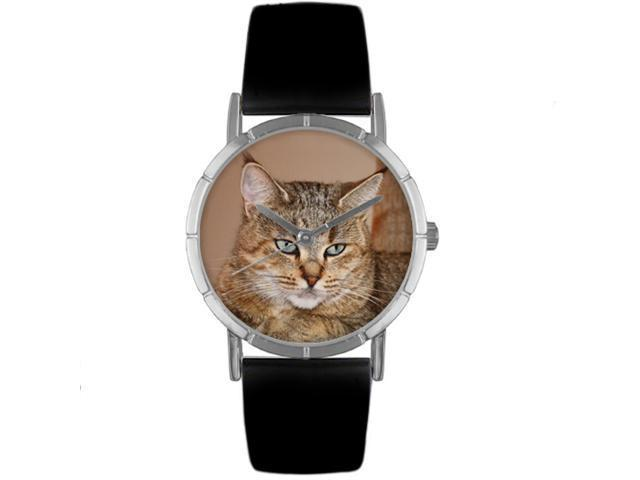Pixie Bob Cat Black Leather And Silvertone Photo Watch #R0120053