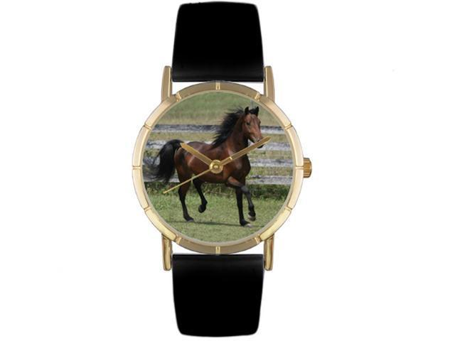 Morgan Horse Black Leather And Goldtone Photo Watch #P0110029
