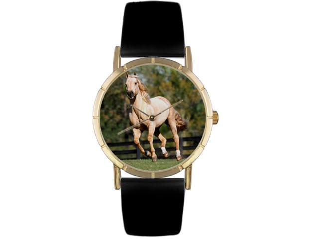 Quarter Horse Black Leather And Goldtone Photo Watch #P0110030