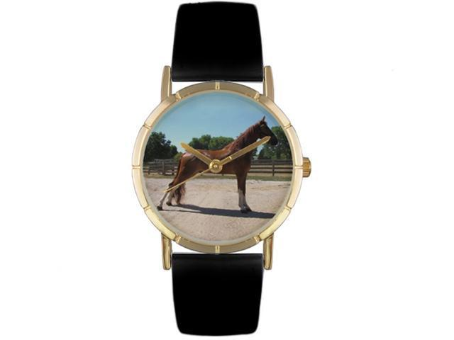 Tenessee Walker Horse Black Leather And Goldtone Photo Watch #P0110031