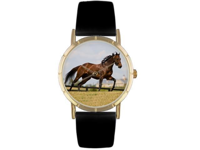 Thoroughbred Horse Black Leather And Goldtone Photo Watch #P0110032