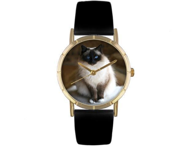 Birman Cat Black Leather And Goldtone Photo Watch #P0120027