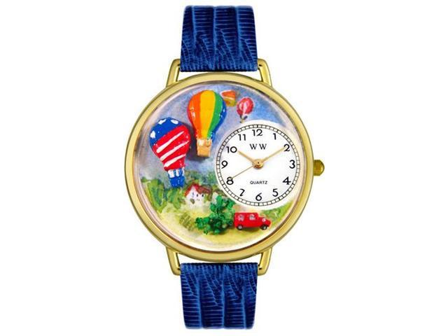 Whimsical Watches G1610010 Hot Air Balloons Royal Blue Leather And Goldtone Watch