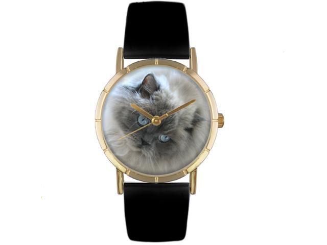 Himalayan Cat Black Leather And Goldtone Photo Watch #P0120039