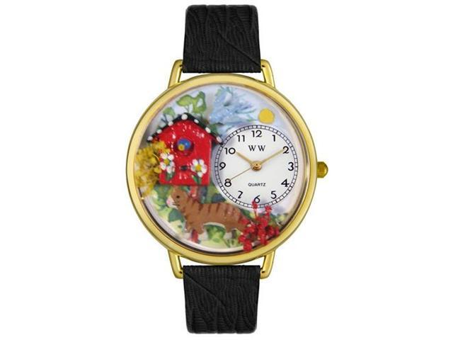 Whimsical Watches G0120005 Birdhouse Cat Black Skin Leather And Goldtone Watch