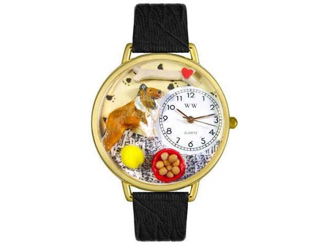 Whimsical Watches G0130004 Collie Black Skin Leather And Goldtone Watch