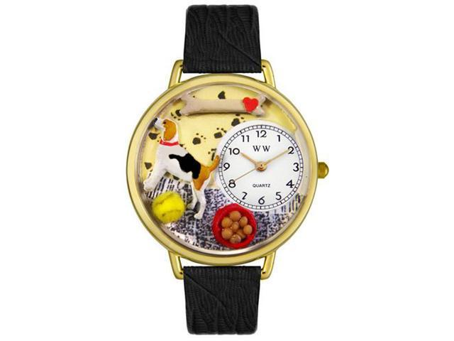 Whimsical Watches G0130007 Beagle Black Skin Leather And Goldtone Watch